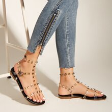 Studded Decor Clear Strap Sandals