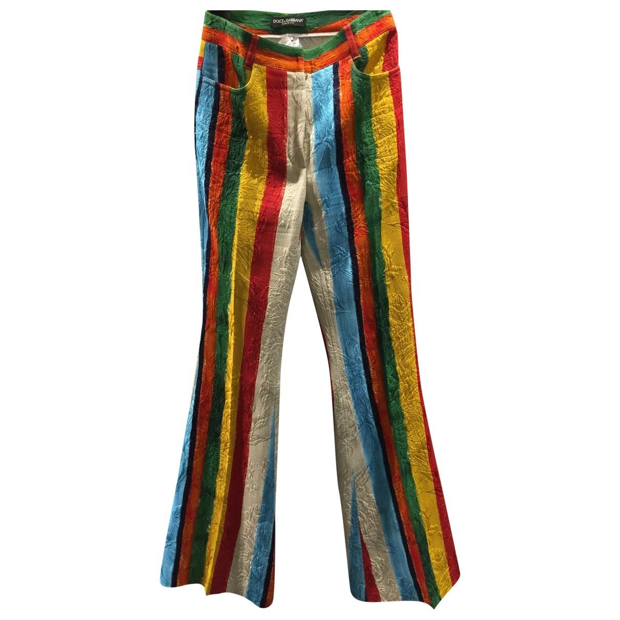 Dolce & Gabbana \N Multicolour Cotton Trousers for Women 38 IT