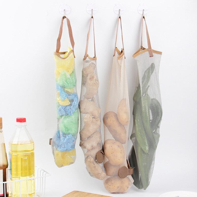 Hanging Fruit And Vegetable Storage Net Bag Portable Handle Kitchen Multifunctional Hollow Breathable Hanging Bag