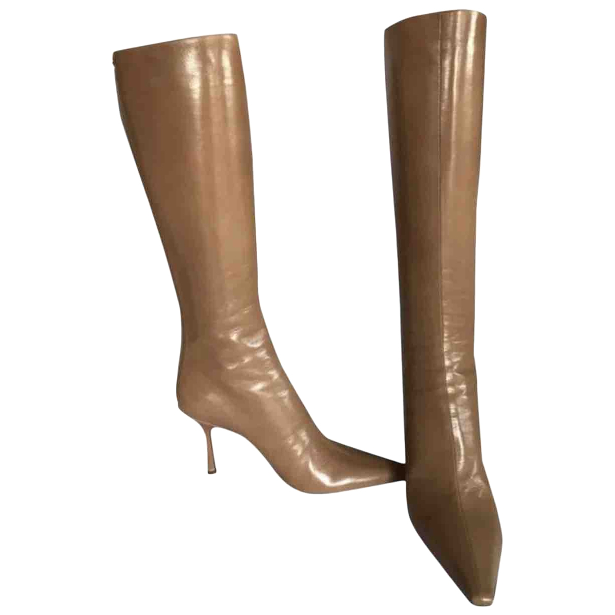 Jimmy Choo \N Beige Patent leather Boots for Women 37.5 EU