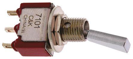 C & K SPST Toggle Switch, Latching, PCB