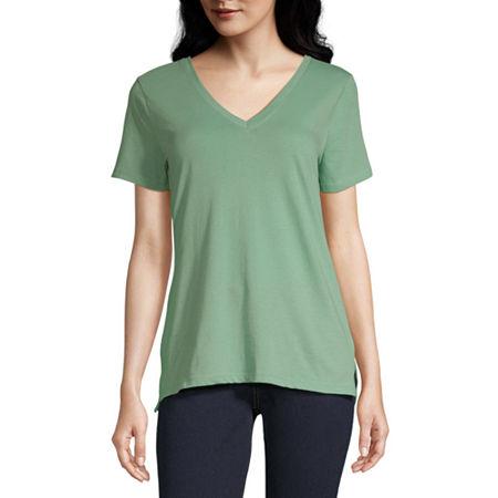 a.n.a Womens Short Sleeve T-Shirt, X-small , Green
