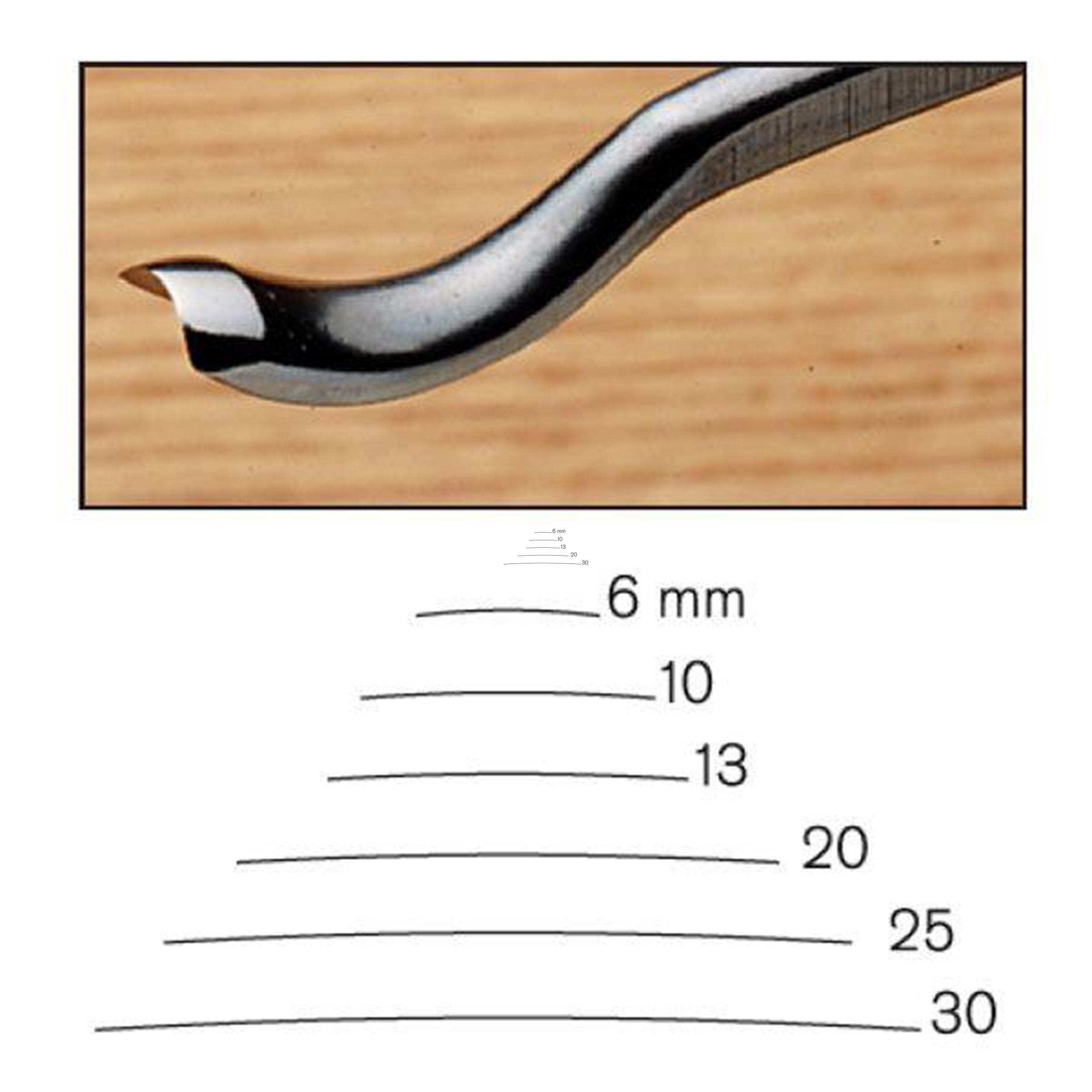 #20 Sweep Back Bent Gouge 30 mm, Full Size