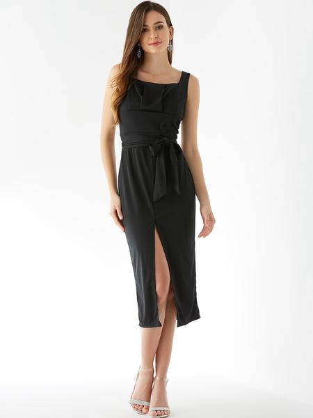 Yoins Black Belt Design Square Neck Sleeveless Slit Dress