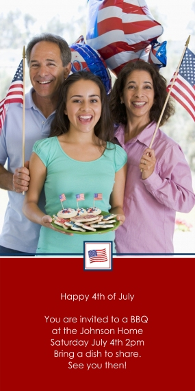4th of July Photo Cards Flat Matte Photo Paper Cards with Envelopes, 4x8, Card & Stationery -Patriotic Postage