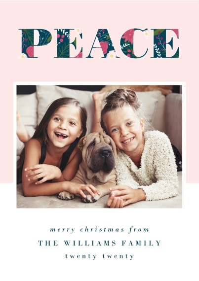 Christmas Photo Cards 5x7 Cards, Premium Cardstock 120lb, Card & Stationery -Peace Wishes