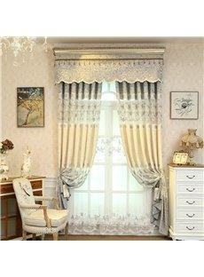European Style Pastoral Beige Embroidered Flower 2 Panels Custom Sheer Curtain