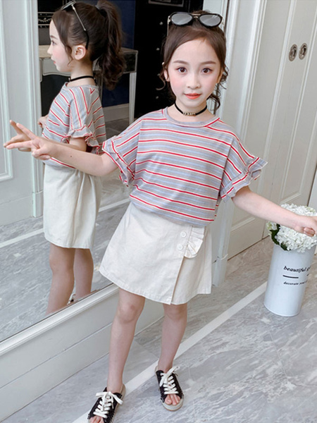 Milanoo Girls Clothing Red Kids\'s Summer T-Shirt And Short Pants Set