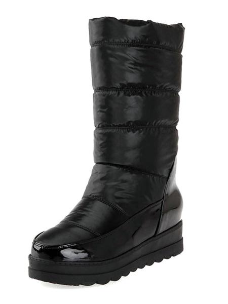Milanoo Womens Snow Boots Mid Calf Boots Dark Navy Round Toe Flat Boots