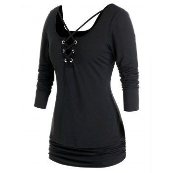 Plus Size Crisscross Ruched Blouson T Shirt