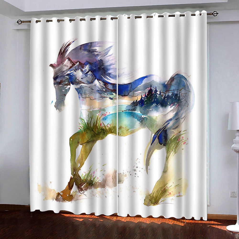 Modern 3D Horse Blackout Window Curtains for Living Room Bedroom No Pilling No Fading No off-lining Blocks Out 80% of Light and 90% of UV Ray