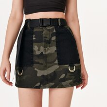 Pocket Patched Push Buckle Belted Camo Denim Skirt