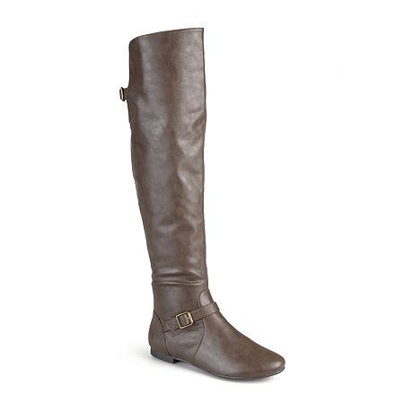 Journee Collection Womens Loft Wide Calf Knee-High Riding Boots, 10 Medium, Brown