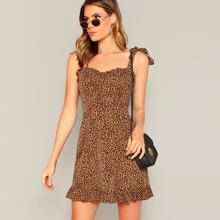 Kleid mit Schulter Knoten und Leopard Muster