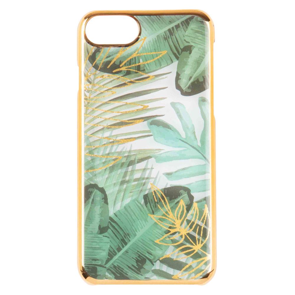 Schutzschale fuer iPhone 5, bedruckt mit tropischem Motiv, gruen und goldfarben