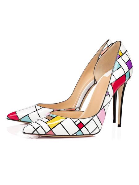 Milanoo Tacones altos para mujer Slip-On Punta puntiaguda Zapatos de tacon de aguja de piel de vaca a cuadros blancos
