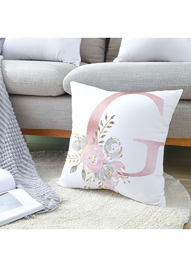 1pc 45 X 45cm Flower Print White Pillowcase Without Filler - One Size