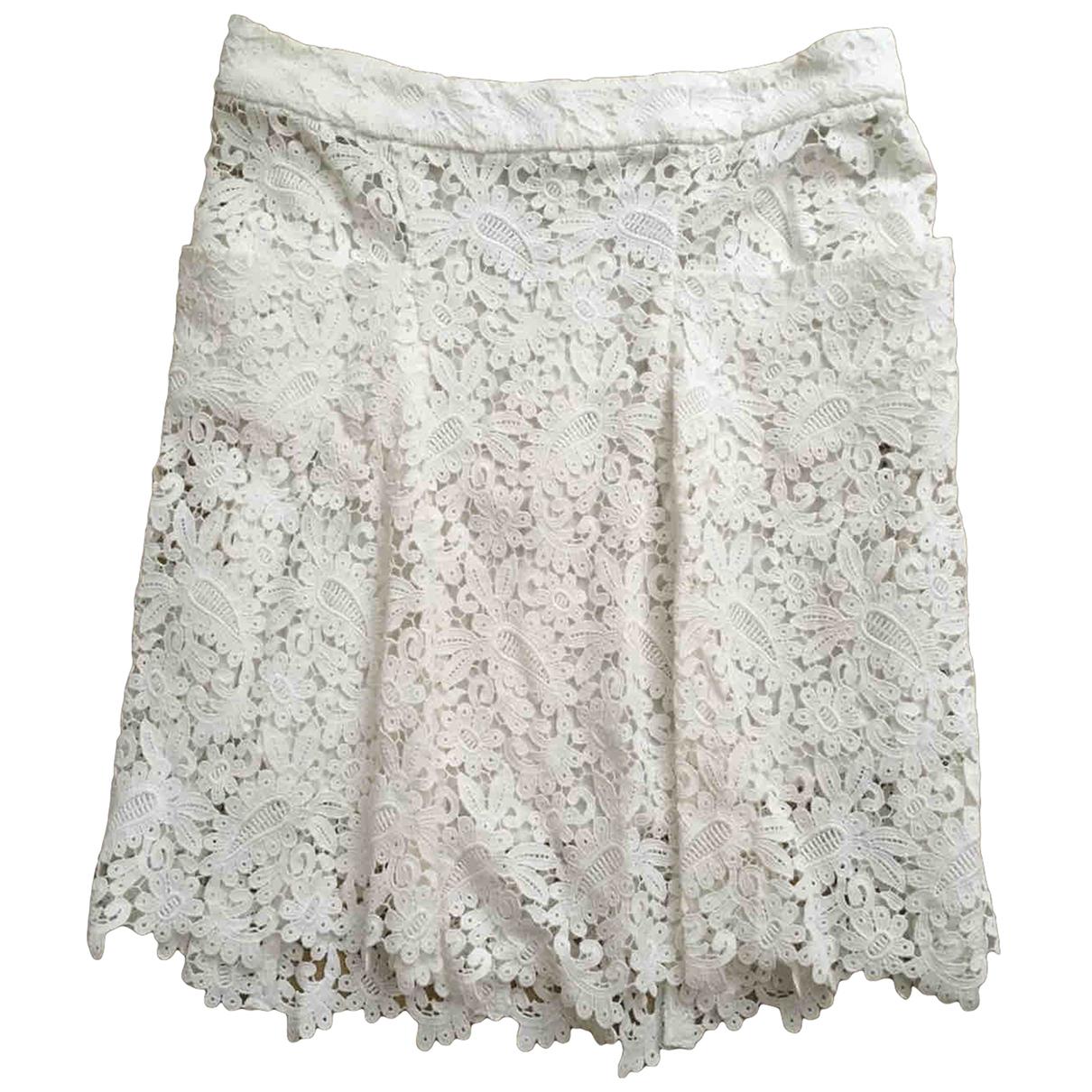 Maje \N White Cotton skirt for Women 38 FR