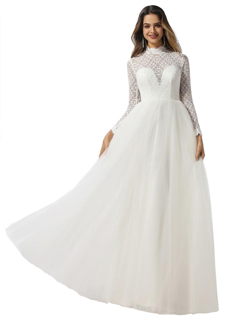 Ericdress Long Sleeves High Neck Lace Hall Wedding Dress 2020