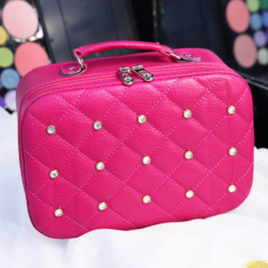 LW lovely Stylish Zipper Design Rose Red Makeup Bag