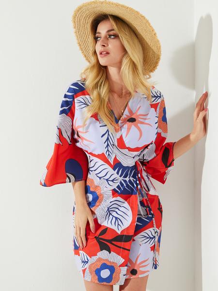 YOINS Multicolor Floral Knotted Wrap Design Deep V-neck Dress