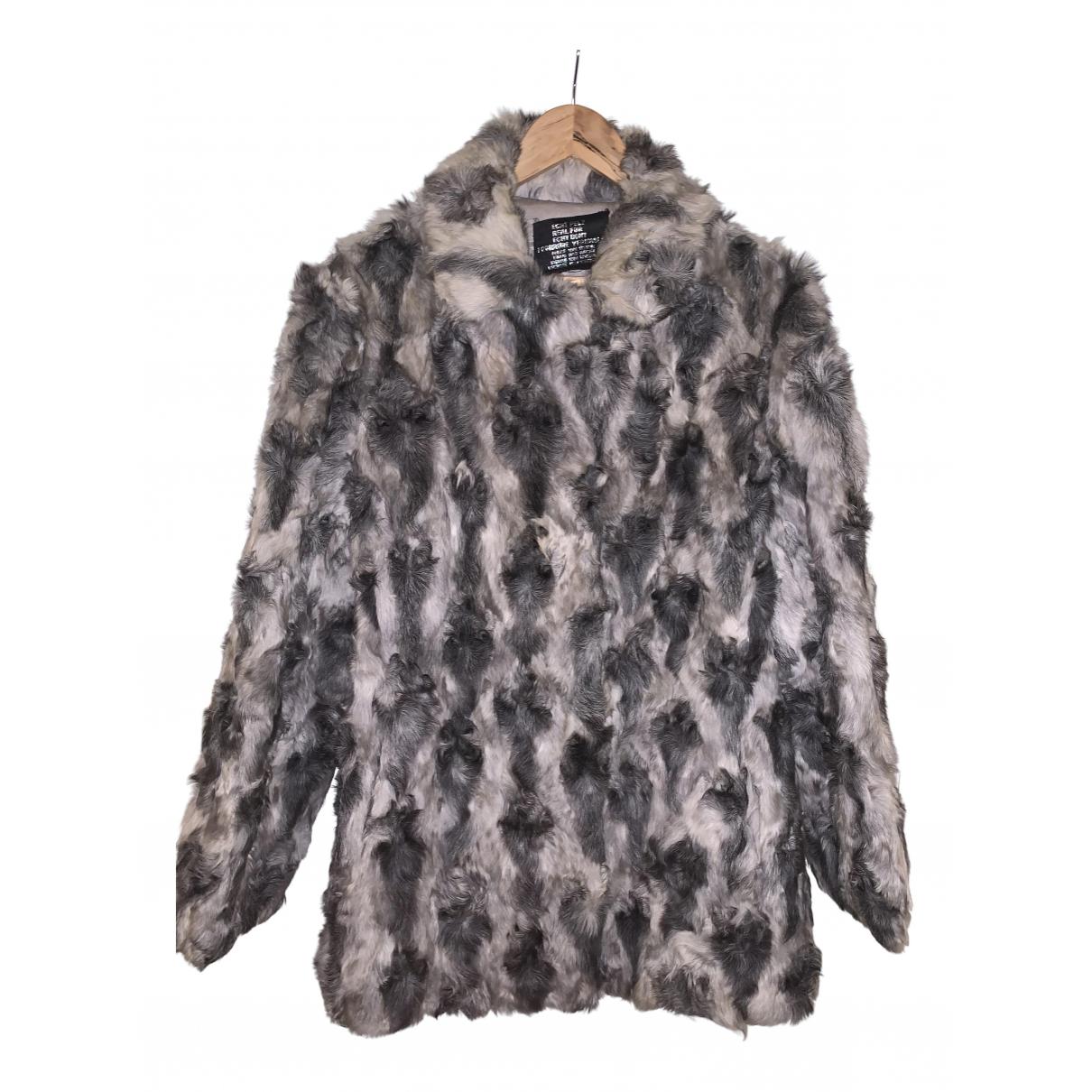 - Manteau   pour femme en fourrure - argente