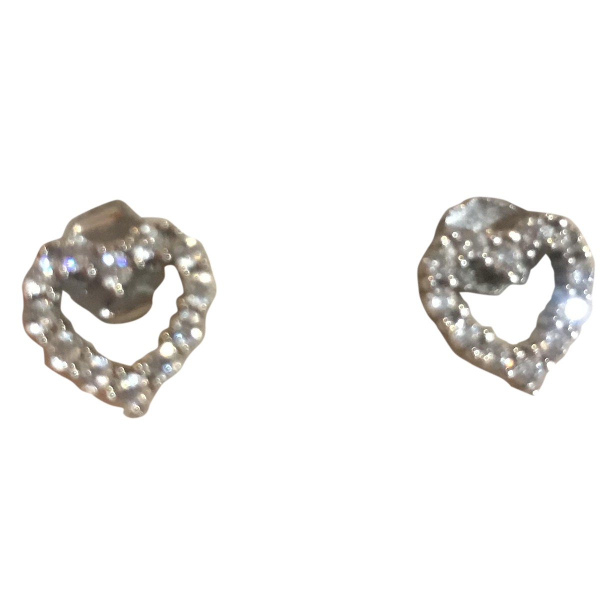 Non Signe / Unsigned Motifs Coeurs OhrRing in Silber