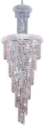 V1800SR22C/SS 1800 Spiral Collection Chandelier D:21In H:60In Lt:22 Chrome Finish (Swarovski   Elements