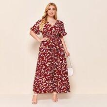 Plus Allover Floral Print Surplice Neck Self Belted Dress