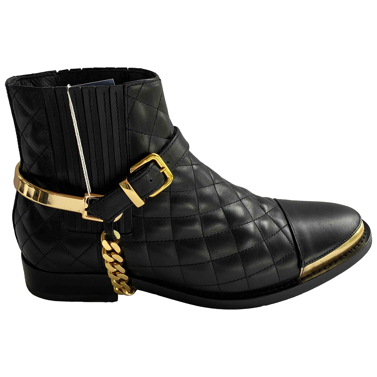 Balmain \N Black Leather Ankle boots for Women 36 IT