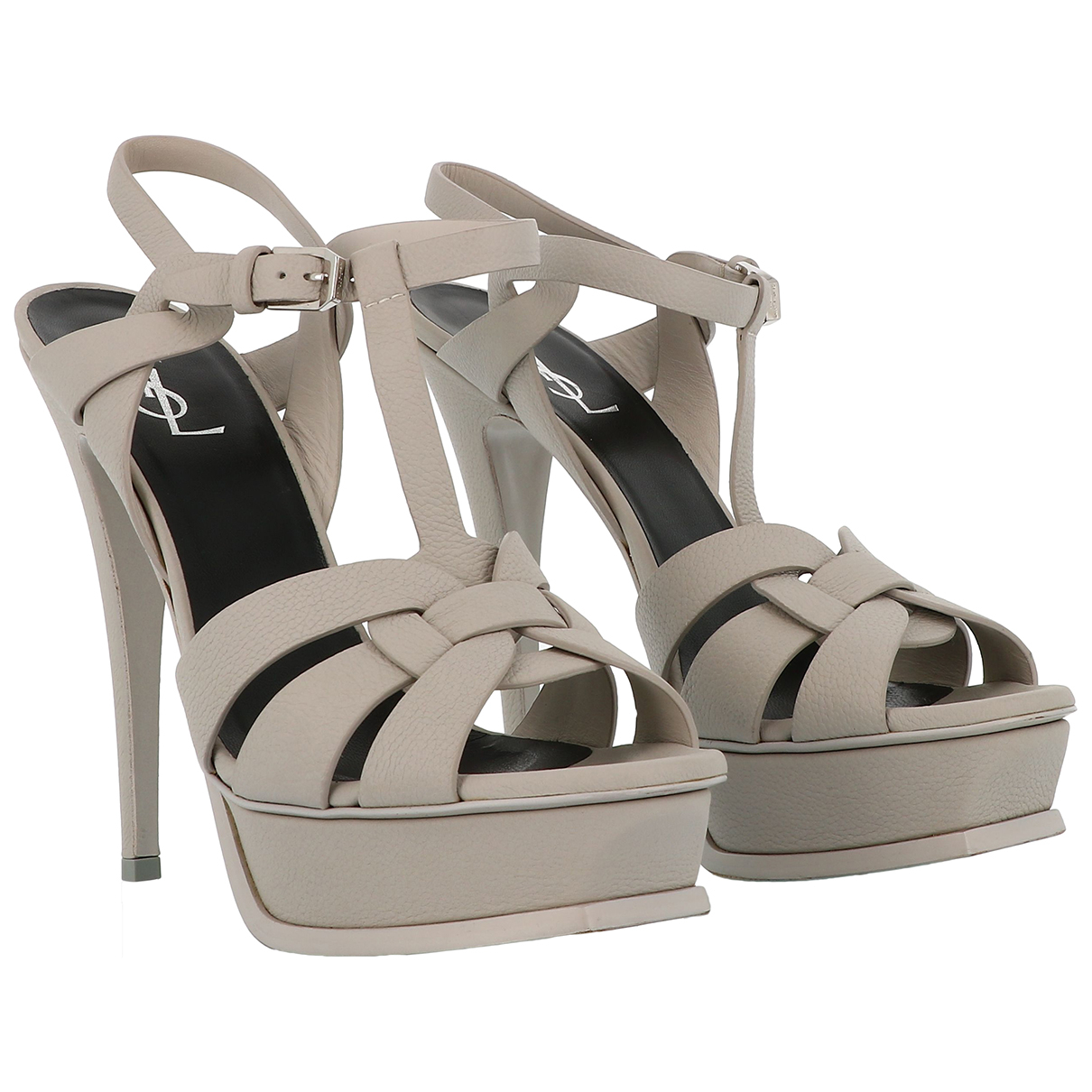 Saint Laurent Tribute Sandalen in  Grau Leder