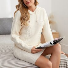 Solid Cable Knit Drop Shoulder Knit Dress