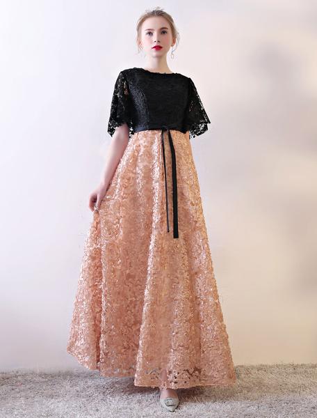 Milanoo Black Prom Dresses Lace Contrast Color Half Sleeve Illusion Ribbon Sash Floor Length Occasion Dress