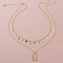 2 Stuecke Halskette mit Scheibe Anhaenger