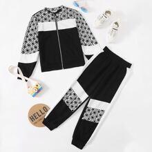 Girls Color Block Zipper Front Jacket & Sweatpants Set
