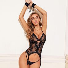 Floral Lace Garter Bustier Set & 1pair Arm Ring