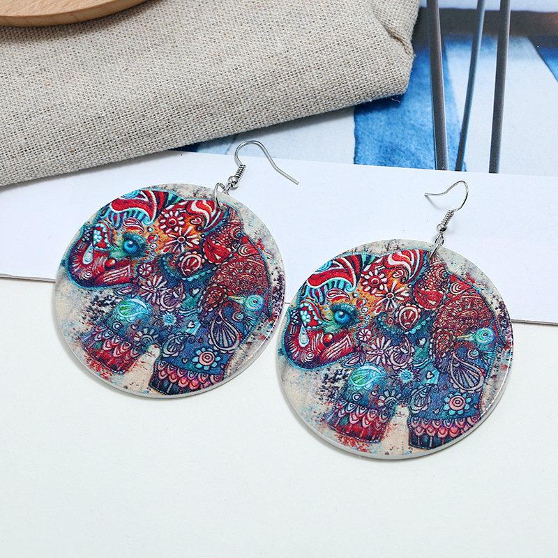 Bohemian Colorful Tree Earrings Big Round Shape Ear Drop Long Style Earrings For Women