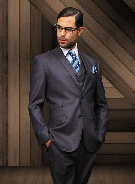 Mens Slim 2 Button Navy Vested Suit Comes With Free Shirt and Tie