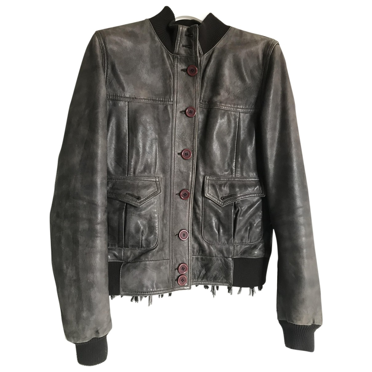 Le Sentier N Grey Leather Leather jacket for Women 42 IT