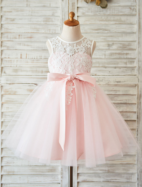 Milanoo Flower Girl Dress Lace Blush Pink Tutu Pageant Dress Toddlers Ribbon Sash Illusion Kids Party Dresses