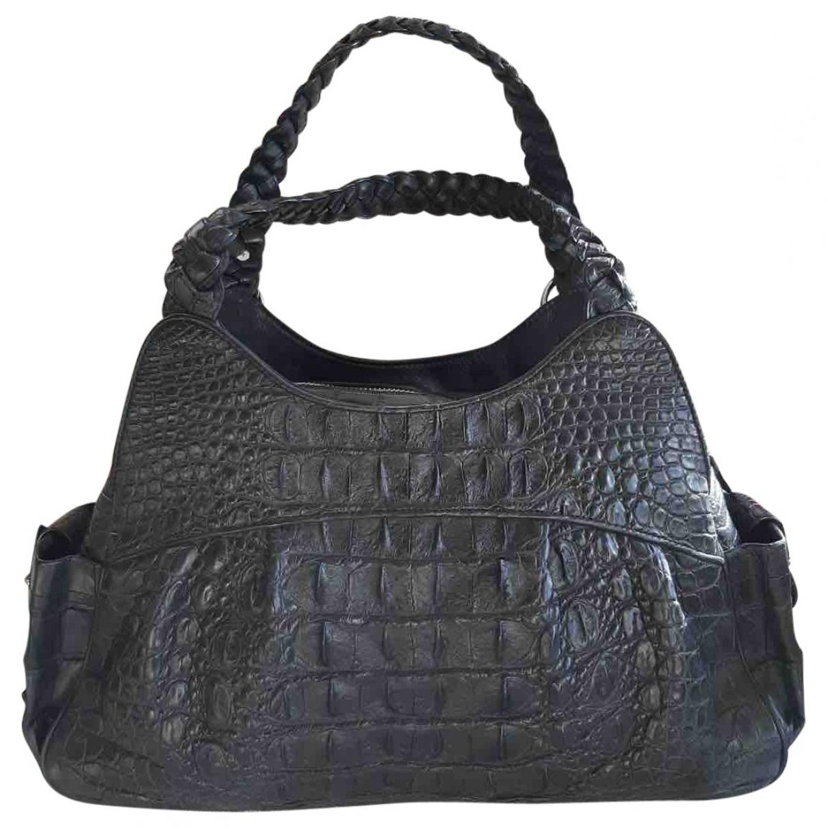 Non Signe / Unsigned \N Handtasche in  Schwarz Krokodil