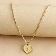 Letter Design Heart Charm Necklace