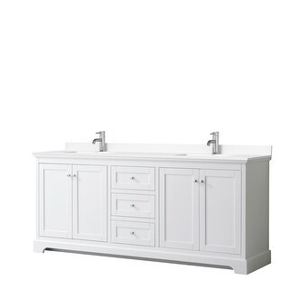 Avery 80 Inch Double Vanity, Cultured Marble Top (White, White Cultured Marble)