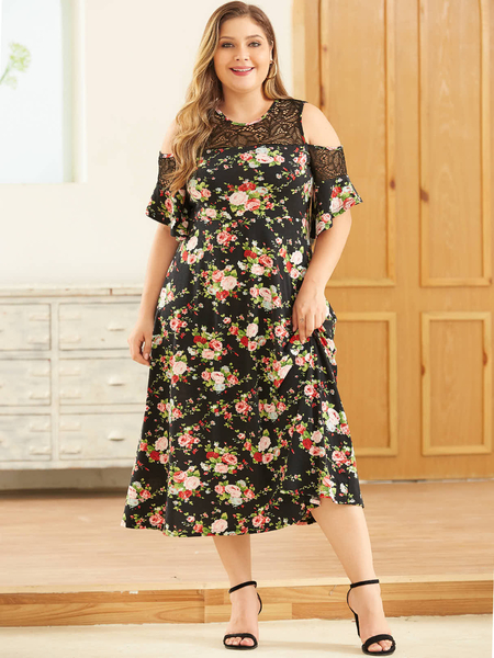 YOINS Plus Size Black Lace Floral Print Cold Shoulder Short Sleeves Dress