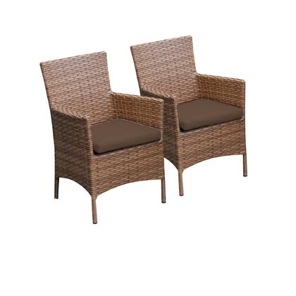 TKC093b-DC-COCOA 2 Laguna Dining Chairs With Arms with 2 Covers: Wheat and