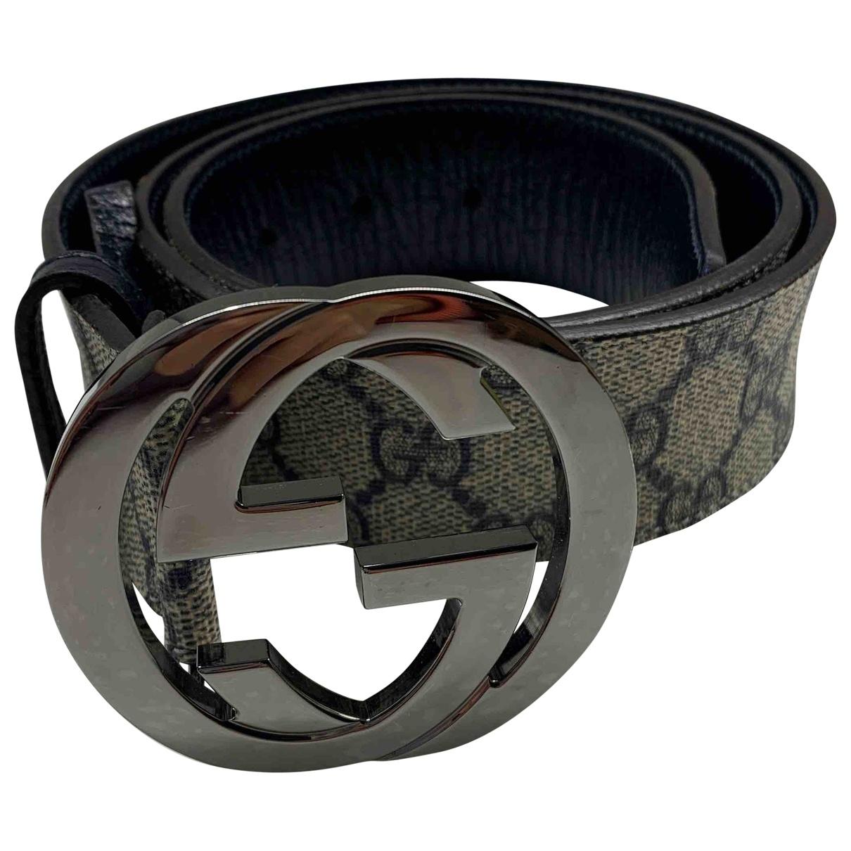 Gucci Interlocking Buckle Blue Leather belt for Women 85 cm