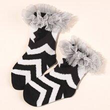 Baby Socken mit Netzstoff und Chevron Muster