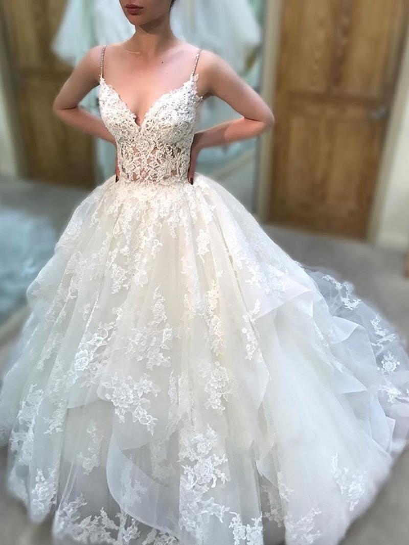 Ericdress Appliques Ball Gown Spaghetti Straps Wedding Dress