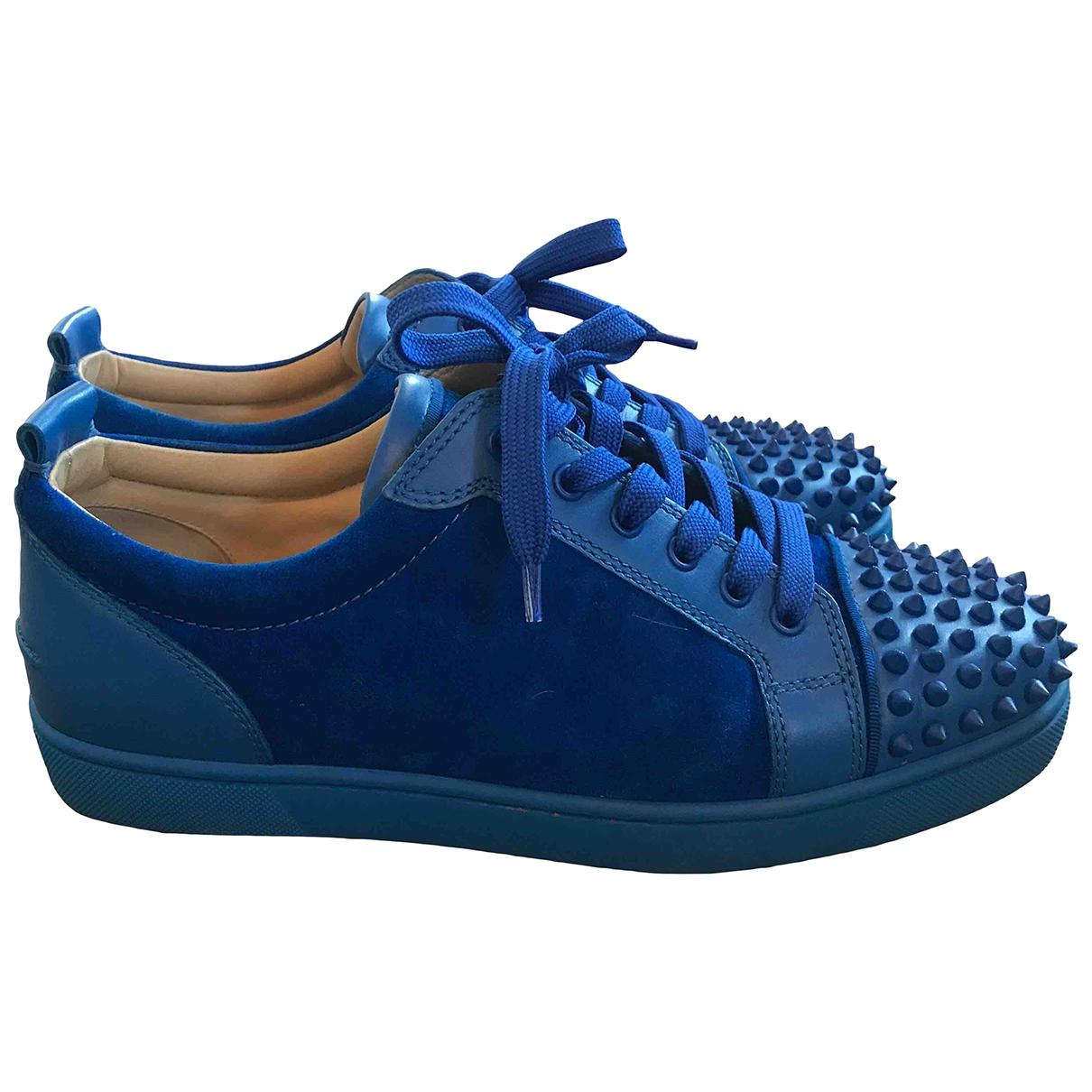 Christian Louboutin - Baskets Louis junior spike pour homme en suede - bleu