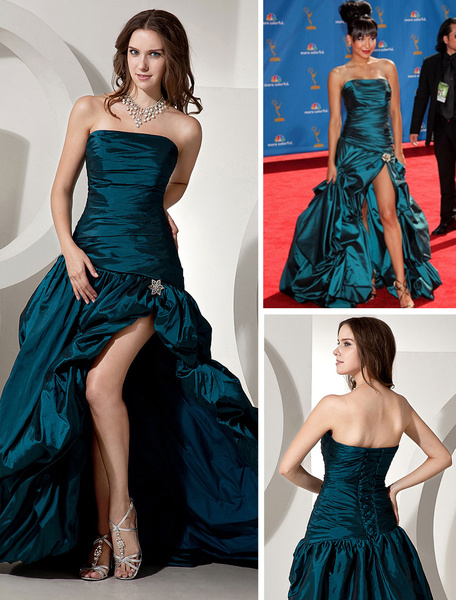 Milanoo Ink Blue Celebrity Dress Taffeta A Line Strapless Split Red Carpet Dress With Train